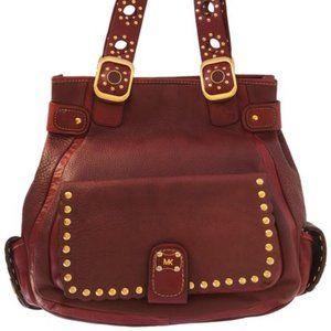 Michael Kors bag. Burgundy leather with studs.